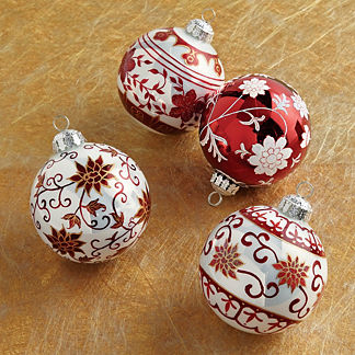 Floral Scroll Sphere Ornaments, Set of Four