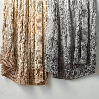 Ombre Striped Cable Knit Throw