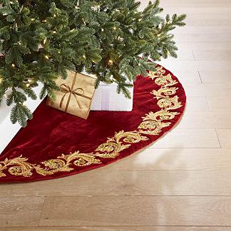 Gilded Vine Scroll Embellished Tree Skirt
