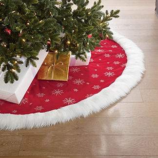 Snowflake Embroidered Faux Fur Cuff Tree Skirt
