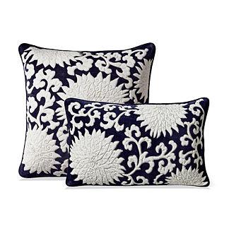 Indigo Mum Decorative Pillow Covers