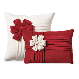 Holiday Bow Velvet Decorative Pillow Covers
