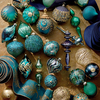 Jeweled Peacock 40-piece Ornament Collection