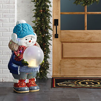 LED Snowman with Crackle Glass Ball