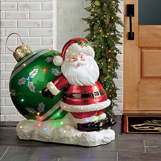 Santa Pushing Oversized Ornament