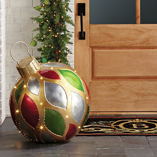 Metallic Red and Green Yard Ornament