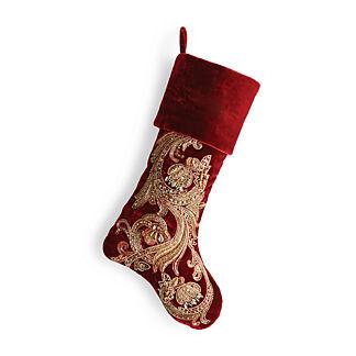 Gilded Vine Scroll Embellished Stocking