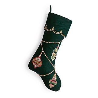 Scalloped-edge Embellished Ornament Stocking