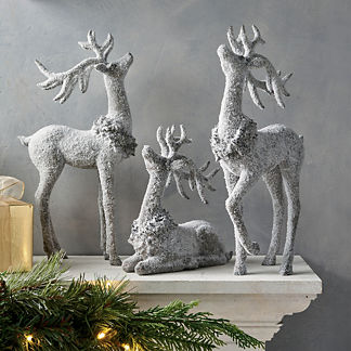 Frosted Glitter Reindeer Trio Set