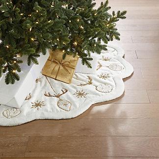 Reindeer & Ornament Embroidered Tree Skirt