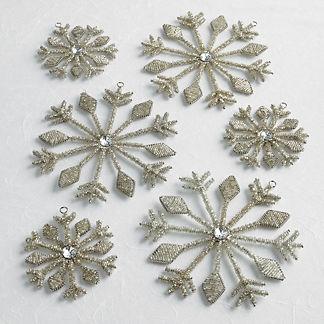 Snowflake Beaded Ornament, Set of Six
