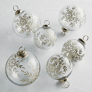Etched Snowflake Glass Ornaments, Set of Six