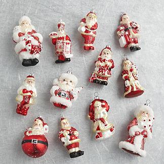 Santa Ornaments, Set of 12