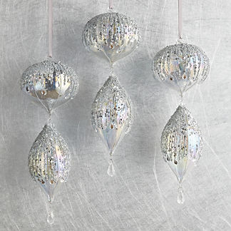 Silver Sequin Tiered Accent Ornaments, Set of Three