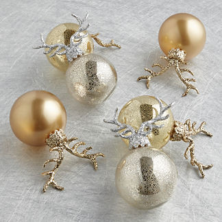 Metallic Antler Ornaments, Set of Six