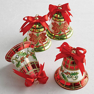 Holiday Glass Bell Ornament Set of Four