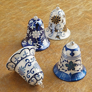 Floral Scroll Bell Ornaments, Set of Four