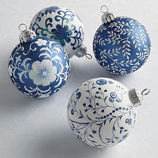 Chinoiserie Matte Glass Ornaments, Set of Four