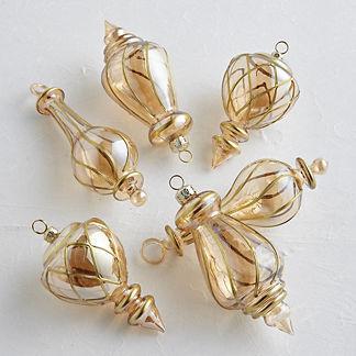 Spiral Glass Ornament, Set of Six