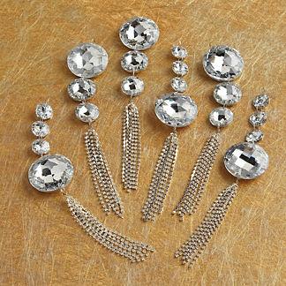 Crystal Rhinestone Tassel Ornament, Set of Six