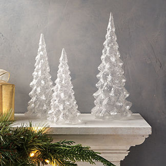 Sparkling Snow Glass Trees, Set of Three