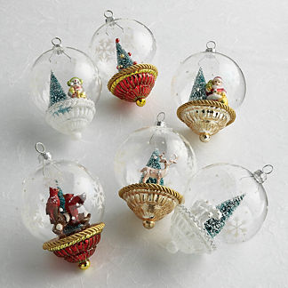 Snow Globe Collectible Ornaments, Set of Six