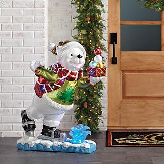 LED Skating Bear with Present