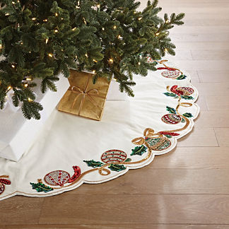 Ornament & Ribbon Embellished Tree Skirt
