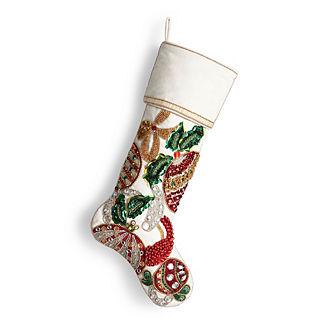 Ornament & Ribbon Embellished Stocking