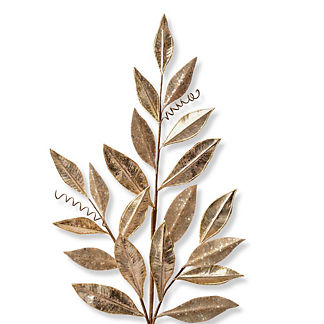 Metallic Glitter Magnolia Leaf Stem, Set of Six