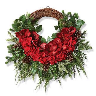 Amaryllis and Hydrangea Grapevine Wreath