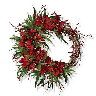 Poinsettia and Pine Wreath