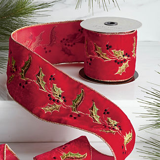 Holly Embroidery Ribbon