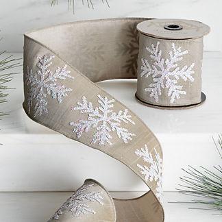 Matte Glitter Snowflake Ribbon