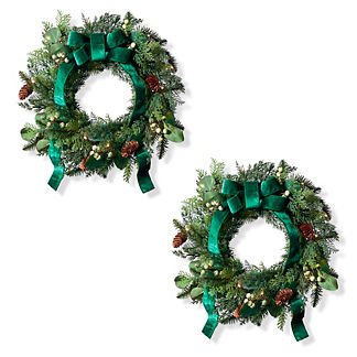 Majestic Holiday Outdoor Patio Wreaths, Set of Two
