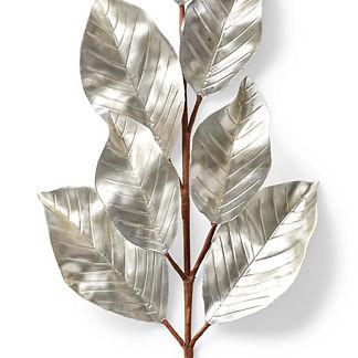 Metallic Magnolia Leaf Stem, Set of Six