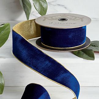 Cobalt Velvet Ribbon with Gold Back
