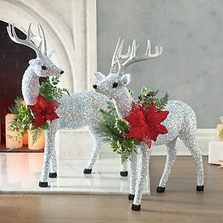 Mark Roberts Festoon Sparkling Reindeer Figures, Set of Two