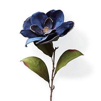 Velvet Magnolia Stems with Gilded Edge, Set of Six