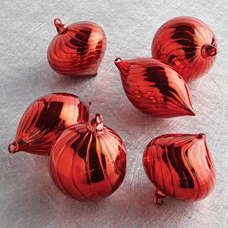 Glass Swirl Accent Ornaments, Set of Six