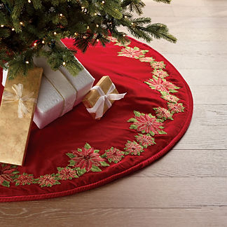 A Wonderful Christmas Poinsettia Trim Tree Skirt