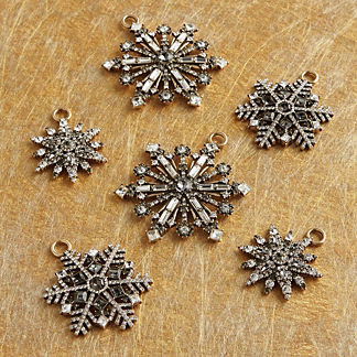 Radiant Crystal Snowflake Ornaments, Set of Six