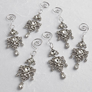 Twinkle Stone Encrusted Drop Ornaments, Set of Six