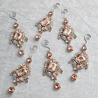 Blush Patina Encrusted Drop Ornament Set, Set of Six