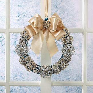 Peacock Glimmer Crystal & Gem Broach Wreath
