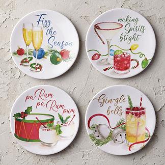Holiday Pun Melamine Appetizer Plates, Set of Four