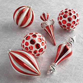 Stripe and Dot Glass Ornaments, Set of Six