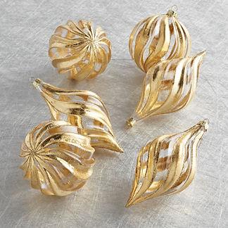 Metallic Glass Swirl Ornaments, Set of Six
