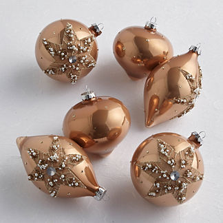 Blush Glamour Ornaments, Set of Six