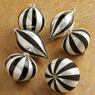 Stripe Swirl Glitter Ornaments, Set of Six